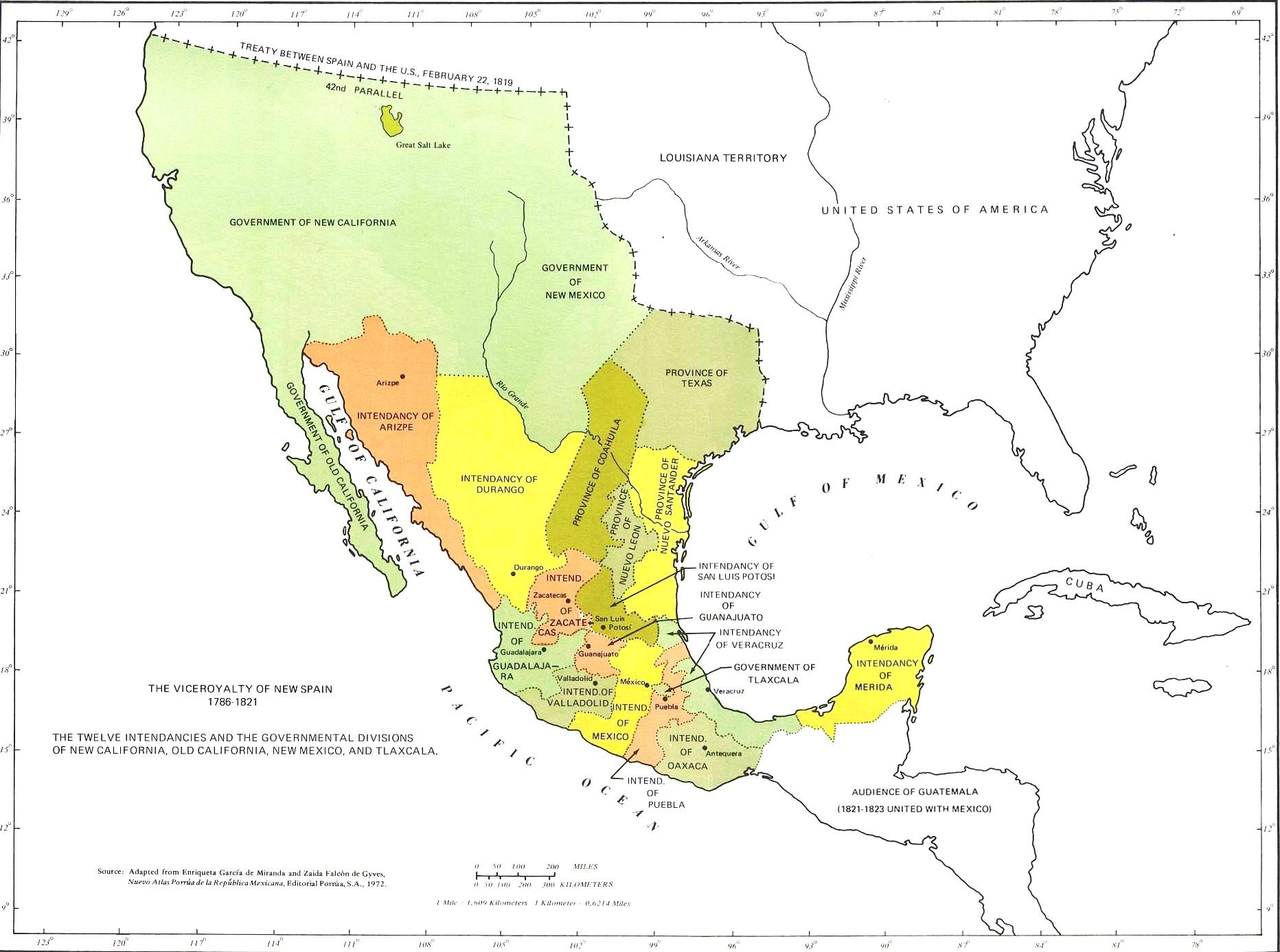 Viva M xico – Map of Mexico 1821