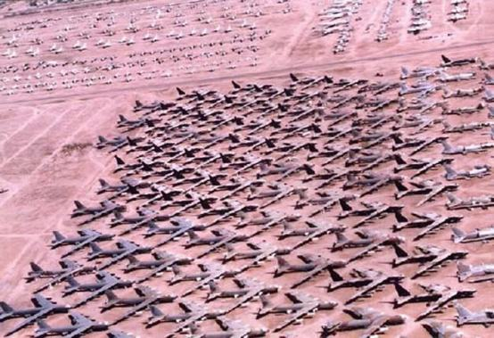 "a portion of the USAF's bomber ""graveyard"" of obsolete aircraft near Tuscon, Arizona"