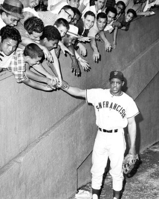 Willie Mays Greeting Fans Before Game