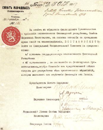 Vladimir Lenin's Soviet Approval of Finnish Independence  signatures