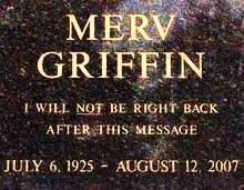 Merv Griffin's headstone at the cemetery in Westwood Village, Ca,Splash