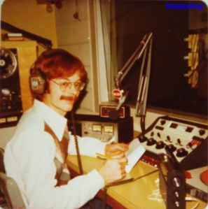 me recording a newscast on Christmas Day, 1978