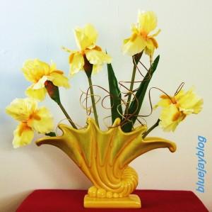Royal Haeger vase with irises