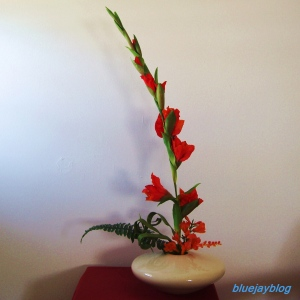 Royal Haeger Ikebana vase with glads